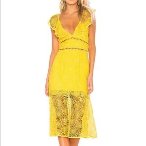 Saylor Leilani yellow lace midi dress M